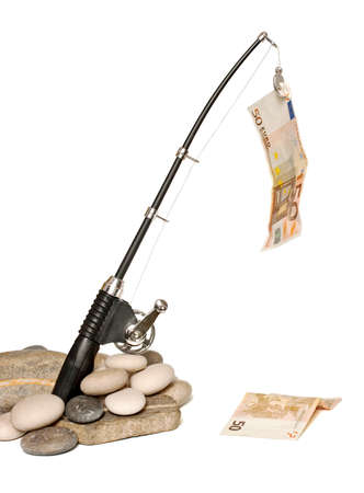 Fishing rod while fishing euro bills Stock Photo - 9937015