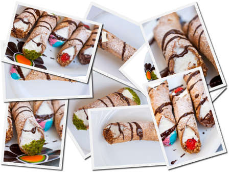Cannolis postcards, Italian pastry photo