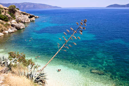 View of Agia Efimia beach on the Kefalonia Stock Photo