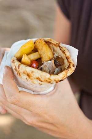 Gyros pita, a tipycal Greek sandwich photo