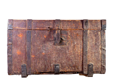 old container: Antique wooden trunk on white