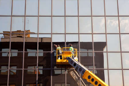 Men cleaning building