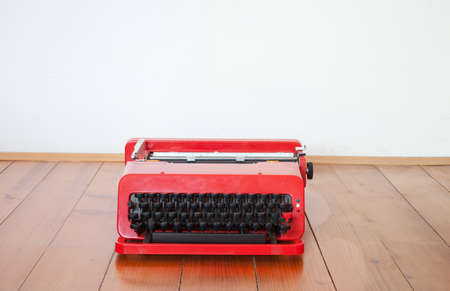 Old red typewriter  photo