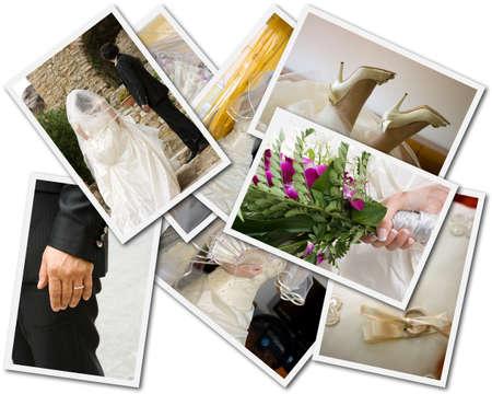 collage caras: Fotos de la boda collage Foto de archivo