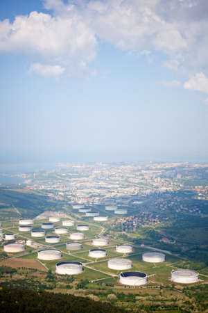 reservoirs: View of Oil reservoirs, Trieste Stock Photo