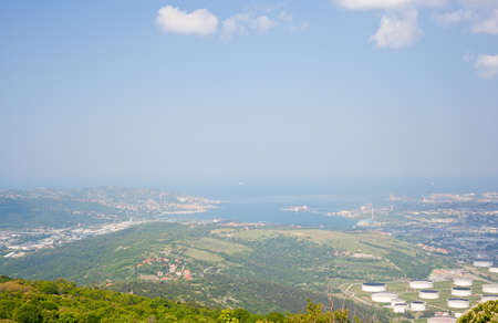 disuse: View of Oil reservoirs, Trieste Stock Photo