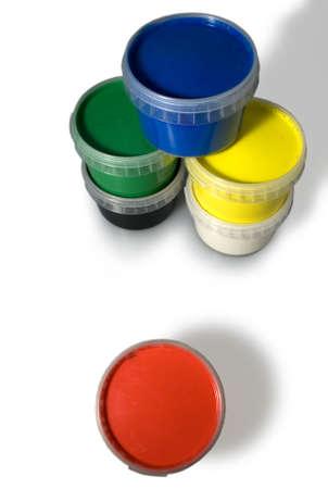 tempera: Jars of colors