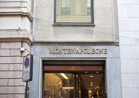 via: Via Monte Napoleone, street in Milan center for fashion and luxury, Italy