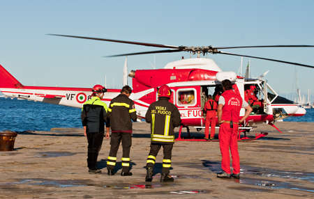 Helicopter and Italian firemans