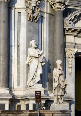 St. Peter statue on Catania cathedral - Italy photo