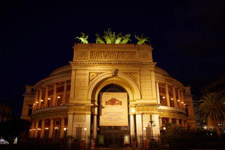 palermo   italy: Teatro Politeama at sunset, Palermo - Italy
