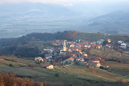 vineyard plain: Goce, Little village in the Slovenian countryside Stock Photo