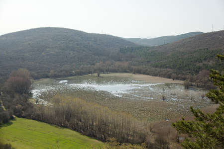 karst: View of karst lake Doberdo, Italy