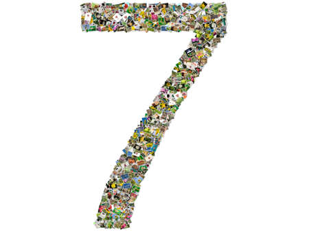 number seven: Number seven photo collage isolated on a white background Stock Photo