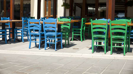 Blue and green chairs