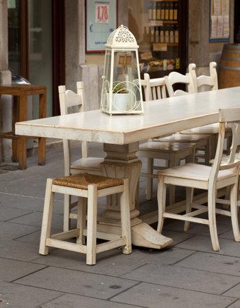 outdoor restaurant: Outdoor restaurant table in Trieste