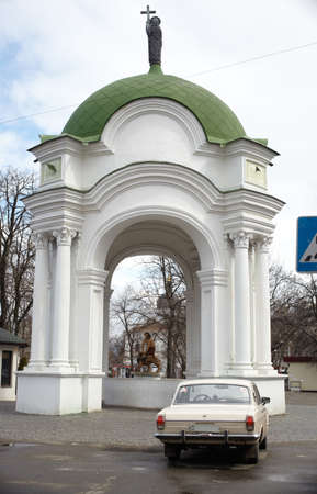 Chapel and car in Kiev, Ukraine photo