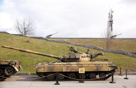 reenacting: Ukrainian and soviet tank, War museum Kiev Editorial