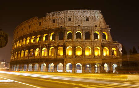 The Colosseum at night, Rome, Italy photo