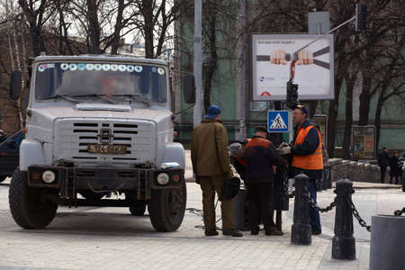 Workers in the street, Kiev Stock Photo - 12124847