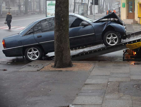 traffic accidents: Scene of a car crash  Editorial