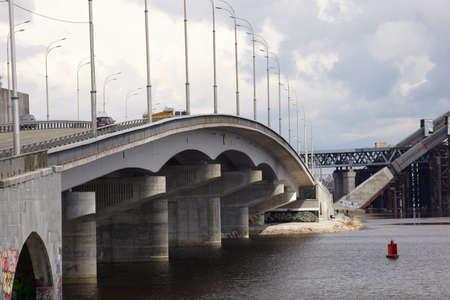 Bridge construction, Dnepr river in Kiev, Ukraine  photo