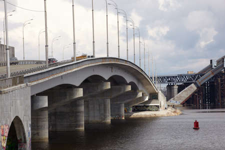 dnepr: Bridge construction, Dnepr river in Kiev, Ukraine  Stock Photo