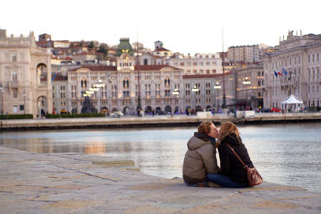 trieste: Lovers next to the sea in Trieste Editorial