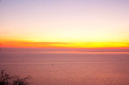 trieste: View of sunset in the Trieste sea Stock Photo