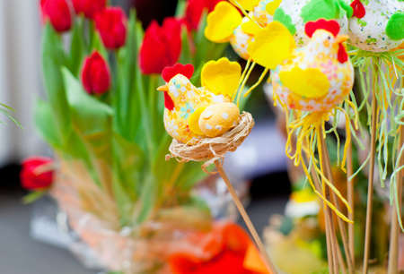 Photo of hens, Colorful Easter decorations photo