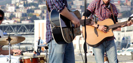 Musicians in concert, Two guitar player Editorial