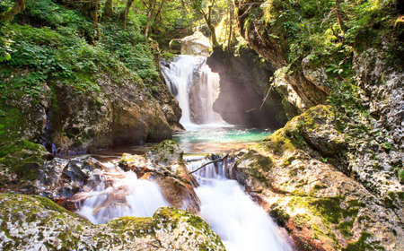 View of Waterfall in the Slovenian  Julian Alps photo