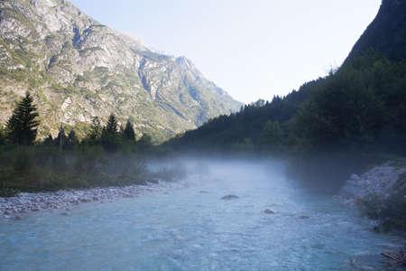 julian: The fog on the Soca river, Slovenian Julian Alps