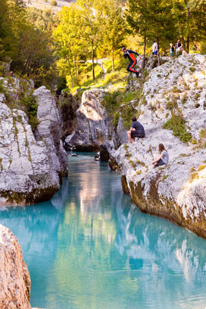 View of Slovenian Soca river in the summer photo