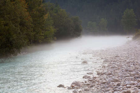 The fog on the Soca river, Slovenian Julian Alps photo
