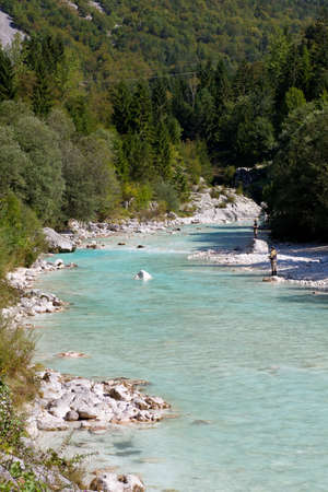 Photo of a Fisherman in the Soca river, Slovenia