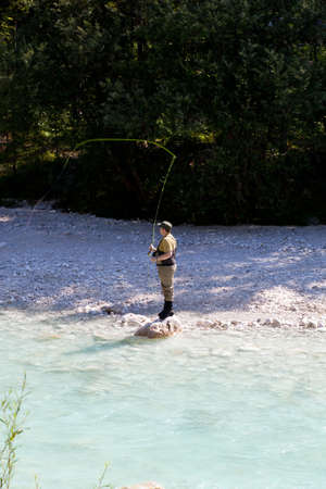 Photo of a Fisherman in the Soca river, Slovenia Stock Photo - 13691830