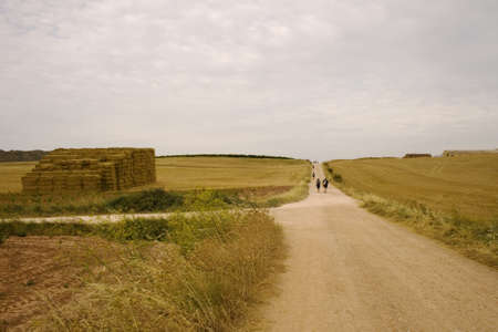 pilgrim journey: Pilgrims; Way of St. James in the summer Stock Photo