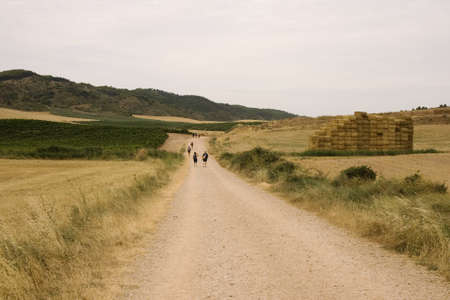 way of st  james: Pilgrims; Way of St. James in the summer Stock Photo