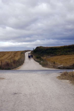 way of st  james: Pilgrims on the road, Way of St  James Stock Photo