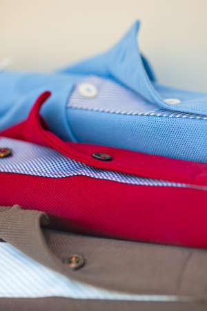 Close up of new colorful Polo shirts photo