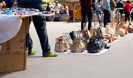 pirated: Counterfeit italian bags for sales in the street