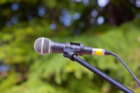 Close up of a microphone for a concert photo