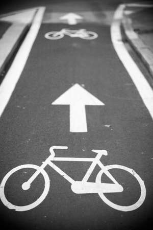 lanes: View of bicycle path in Milan, Italy