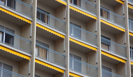 A lot of balcony and windows of Residential Building photo