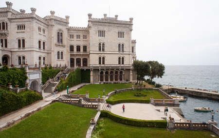 View of Miramare castle, Trieste - Italy Imagens