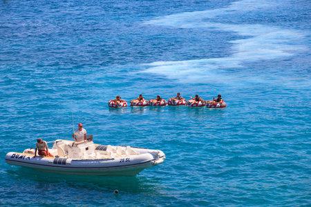 Water play, Baska sea, Krk island in Dalmatia - Croatia Editorial