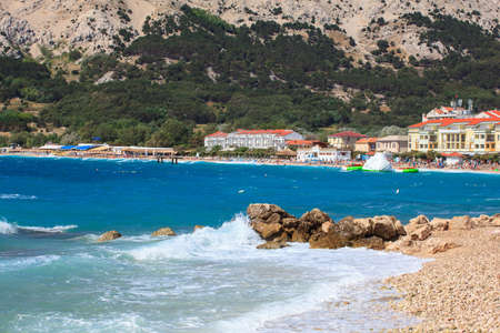 bathers: View of Baska, Krk island in Dalmatia - Croatia
