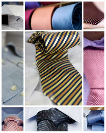 Collage of various Neckties and shirts photo