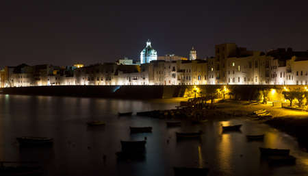 nightview: Nightview of sea and coast  Trapani, Sicily - Italy